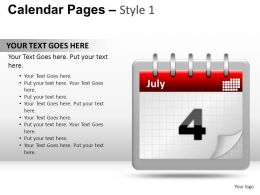 Calendar Pages Style 1 Powerpoint Presentation Slides