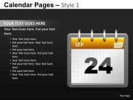 Calendar Pages Style 1 Powerpoint Presentation Slides DB