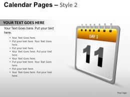 Calendar Pages Style 2 Powerpoint Presentation Slides