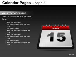Calendar Pages Style 2 Powerpoint Presentation Slides DB