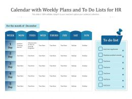 Calendar With Weekly Plans And To Do Lists For HR