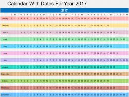 Calender With Dates For Year 2017 Flat Powerpoint Desgin