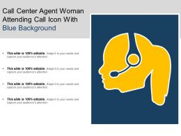 Call Center Agent Woman Attending Call Icon With Blue Background