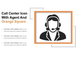 Call Center Icon With Agent And Orange Square