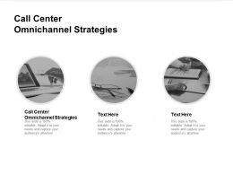 Call Center Omnichannel Strategies Ppt Powerpoint Presentation Pictures Display Cpb