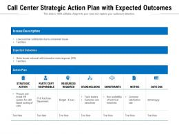 Call Center Strategic Action Plan With Expected Outcomes