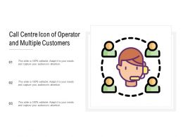 Call Centre Icon Of Operator And Multiple Customers