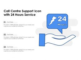 Call Centre Support Icon With 24 Hours Service