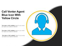 Call Venter Agent Blue Icon With Yellow Circle