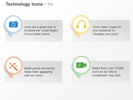 Camera Video Recording Headphone Magic Wand Ppt Icons Graphics
