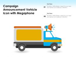 Campaign Announcement Vehicle Icon With Megaphone