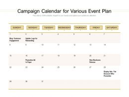 Campaign Calendar For Various Event Plan