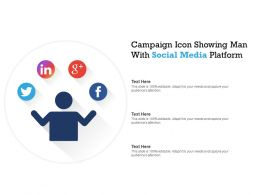 Campaign Icon Showing Man With Social Media Platform