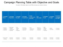 Campaign Planning Table With Objective And Goals