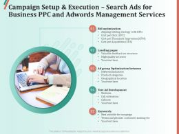 Campaign Setup And Execution Search Ads For Business PPC And AdWords Management Services Ppt Outline