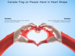 Canada Flag On People Hand In Heart Shape