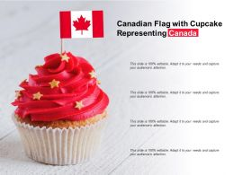 Canadian Flag With Cupcake Representing Canada