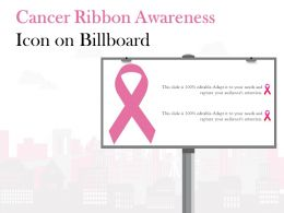 Cancer Ribbon Awareness Icon On Billboard