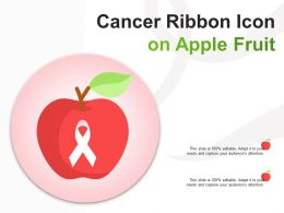 Cancer Ribbon Icon On Apple Fruit