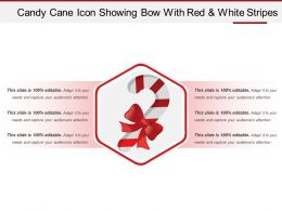 Candy Cane Icon Showing Bow With Red And White Stripes