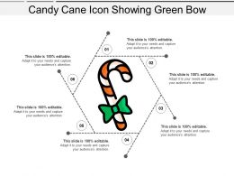Candy Cane Icon Showing Green Bow