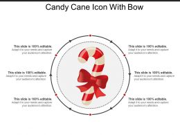 Candy Cane Icon With Bow