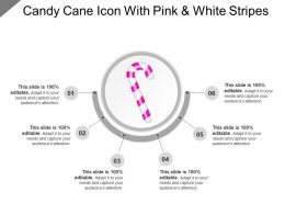 Candy Cane Icon With Pink And White Stripes
