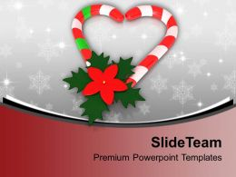 Candy Cane In Heart Shape With Red Flower PowerPoint Templates PPT Backgrounds For Slides 0113