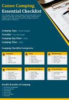 Canoe Camping Essential Checklist Presentation Report Infographic PPT PDF Document