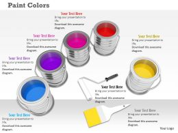 Cans Of Paint Colors With Brush And Roller