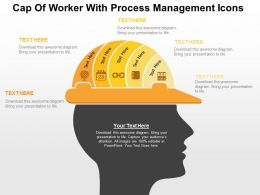 Cap Of Worker With Process Management Icons Flat Powerpoint Design