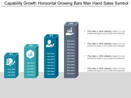 Capability Growth Horizontal Growing Bars Man Hand Sales Symbol