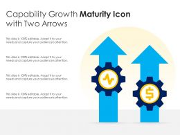 Capability Growth Maturity Icon With Two Arrows