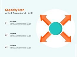 Capacity Icon With 4 Arrows And Circle