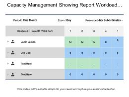 Capacity Management Showing Report Workload With Project Team Names