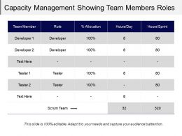 Capacity Management Showing Team Members Roles Role