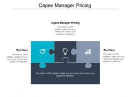 Capex Manager Pricing Ppt Powerpoint Presentation Gallery Example Topics Cpb