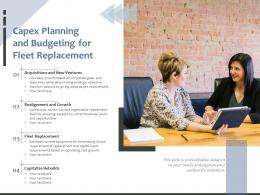 Capex Planning And Budgeting For Fleet Replacement
