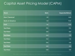 Capital Asset Pricing Model CAPM Ppt Powerpoint Presentation Outline Clipart Images