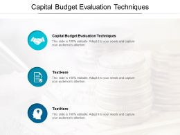 Capital Budget Evaluation Techniques Ppt Powerpoint Presentation Outline Visuals Cpb