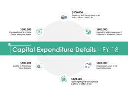 Capital Expenditure Details FY 18 Ppt Powerpoint Presentation Slide