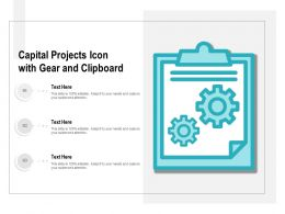 Capital Projects Icon With Gear And Clipboard
