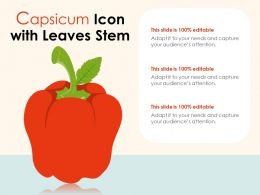 Capsicum Icon With Leaves Stem