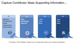 Capture Contributor Ideas Supporting Information Plan Challenge Specific