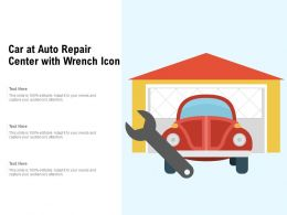 Car At Auto Repair Center With Wrench Icon