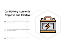 Car Battery Icon With Negative And Positive