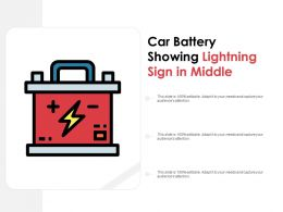 Car Battery Showing Lightning Sign In Middle