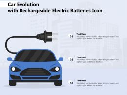 Car Evolution With Rechargeable Electric Batteries Icon