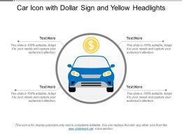Car Icon With Dollar Sign And Yellow Headlights