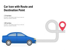Car Icon With Route And Destination Point